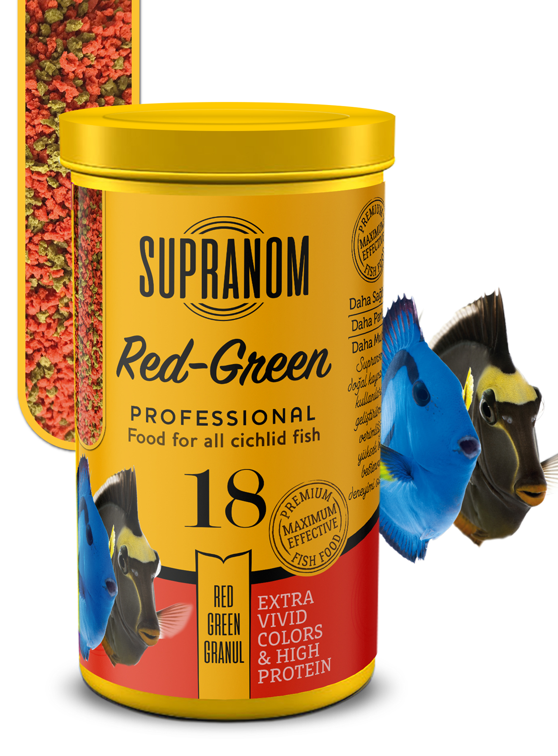 Supranom Cichlid balık yemi red-green granul 250ml (18)-1